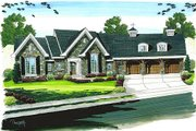 European Style House Plan - 1 Beds 1.5 Baths 3785 Sq/Ft Plan #455-100 Exterior - Front Elevation
