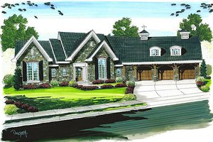 European Exterior - Front Elevation Plan #455-100