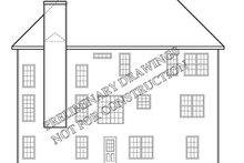 Colonial Exterior - Rear Elevation Plan #927-218