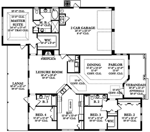 Ranch Floor Plan - Main Floor Plan Plan #1058-157