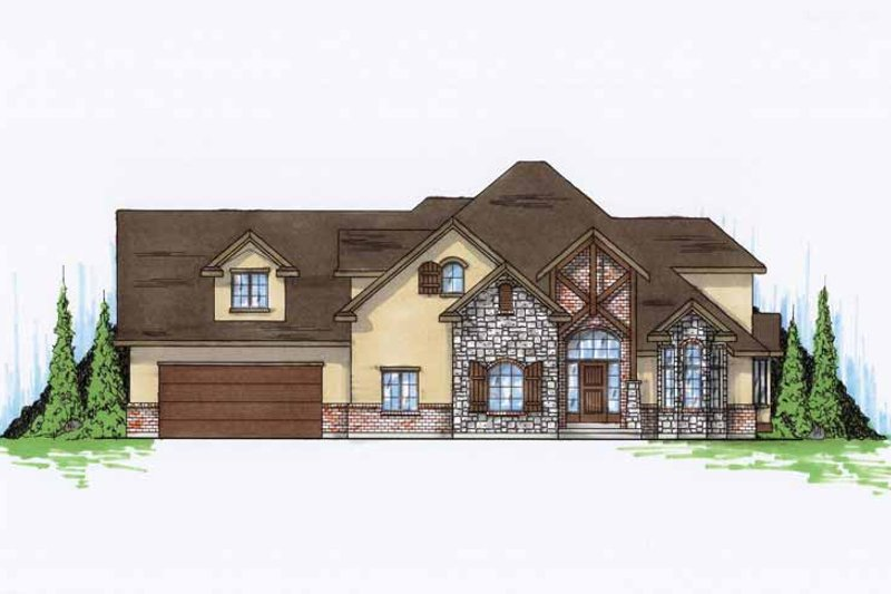 Tudor Exterior - Front Elevation Plan #945-77