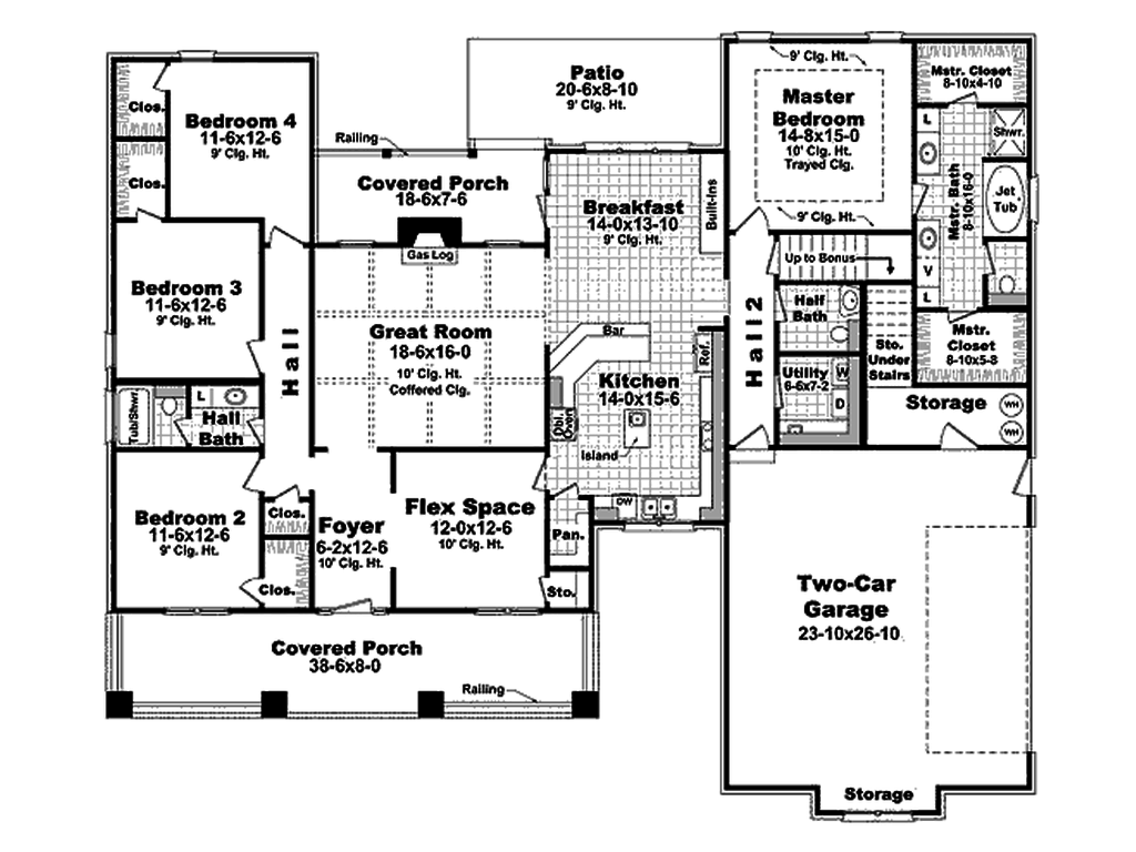 4 Bedroom House Plans Open Floor 1900 Sq Ft