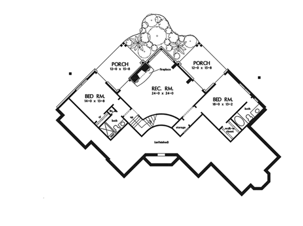 European Floor Plan - Lower Floor Plan Plan #929-944