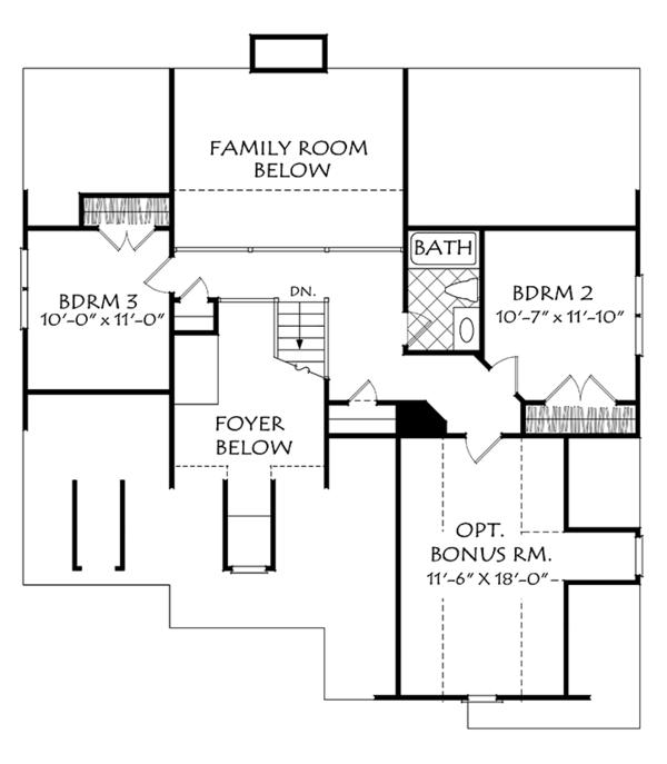 Colonial Floor Plan - Upper Floor Plan Plan #927-973