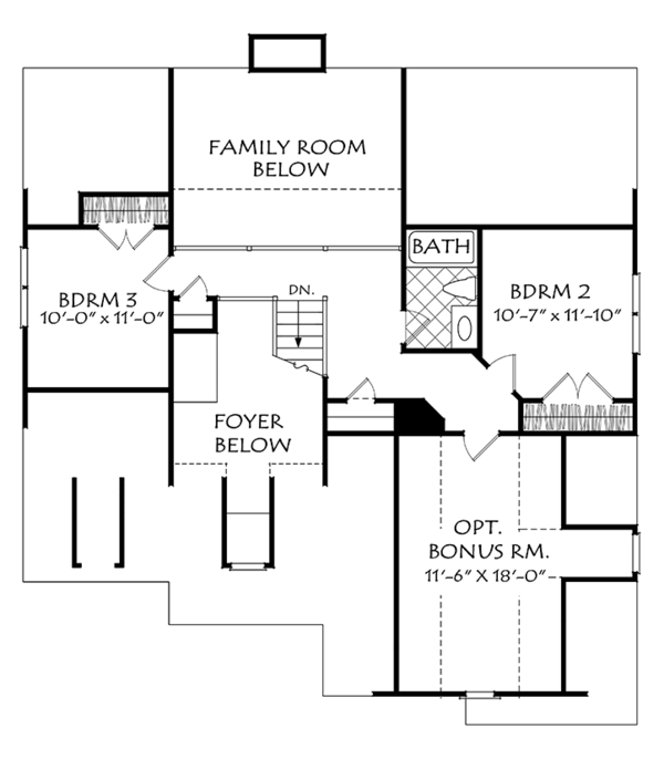 Colonial Floor Plan - Upper Floor Plan Plan #927-973