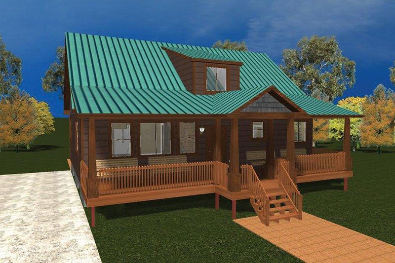 Cabin Exterior - Front Elevation Plan #1060-24 - Houseplans.com