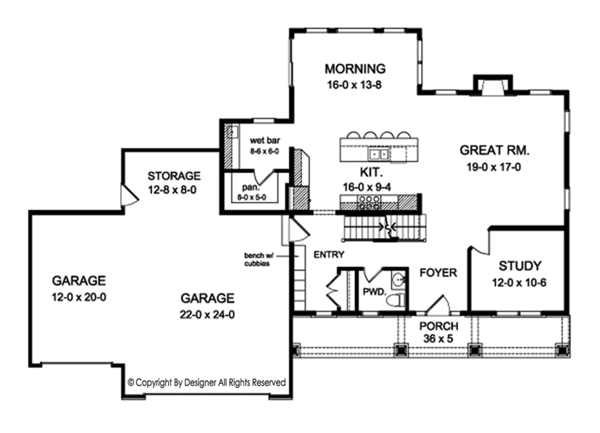 Traditional Floor Plan - Main Floor Plan Plan #1010-158