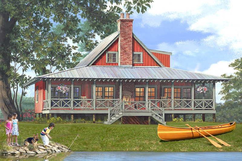 Country Style House Plan - 4 Beds 3 Baths 1966 Sq/Ft Plan #137-375 Exterior - Front Elevation