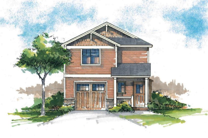 Craftsman Style House Plan - 3 Beds 2.5 Baths 1412 Sq/Ft Plan #53-563 Exterior - Front Elevation