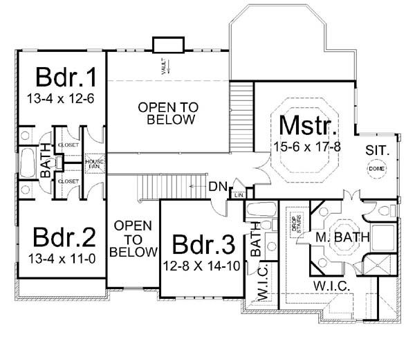 European Floor Plan - Upper Floor Plan #119-263