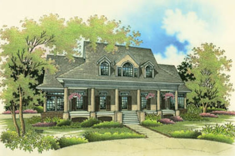 Southern Style House Plan - 3 Beds 3.5 Baths 3360 Sq/Ft Plan #45-168 Exterior - Front Elevation