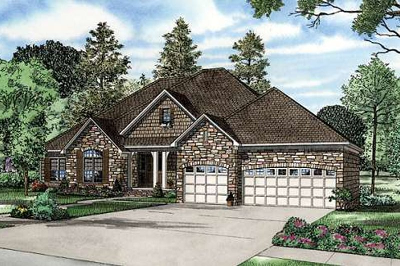 European Style House Plan - 4 Beds 3.5 Baths 5723 Sq/Ft Plan #17-632 Exterior - Front Elevation