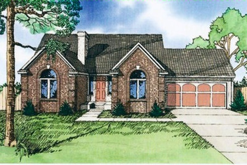 European Style House Plan - 3 Beds 3 Baths 1803 Sq/Ft Plan #405-124 Exterior - Front Elevation