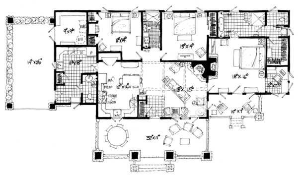 Craftsman Floor Plan - Main Floor Plan Plan #942-19