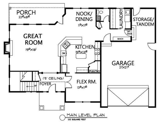 Traditional Floor Plan - Lower Floor Plan Plan #133-108