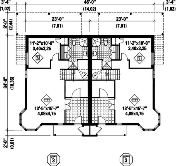 Traditional Floor Plan - Lower Floor Plan Plan #25-4515