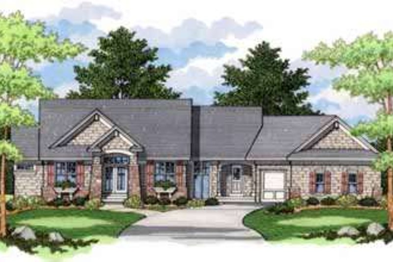 Craftsman Style House Plan - 4 Beds 3 Baths 2758 Sq/Ft Plan #51-219 Exterior - Front Elevation