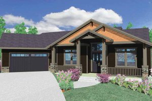 Home Plan Design - Prairie Exterior - Front Elevation Plan #509-350