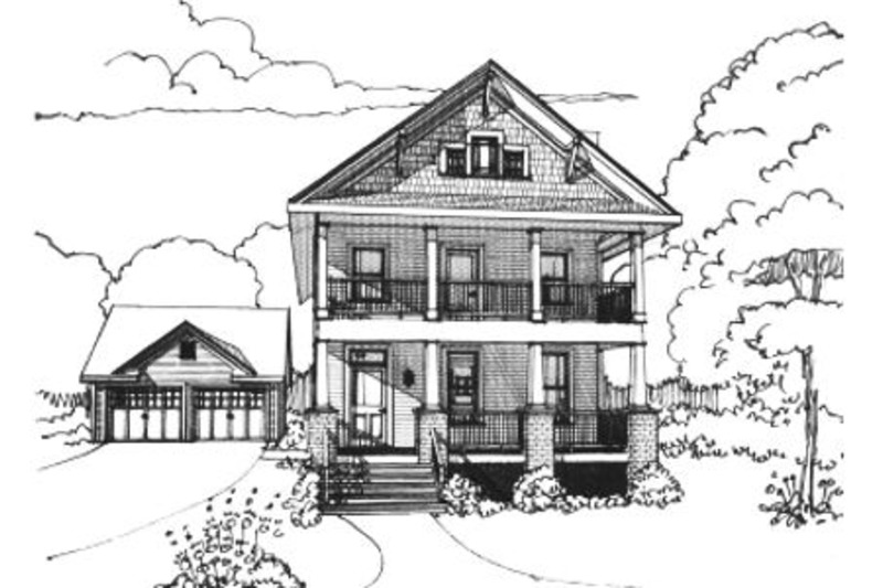 Craftsman Style House Plan - 3 Beds 2.5 Baths 1648 Sq/Ft Plan #79-267 Exterior - Front Elevation