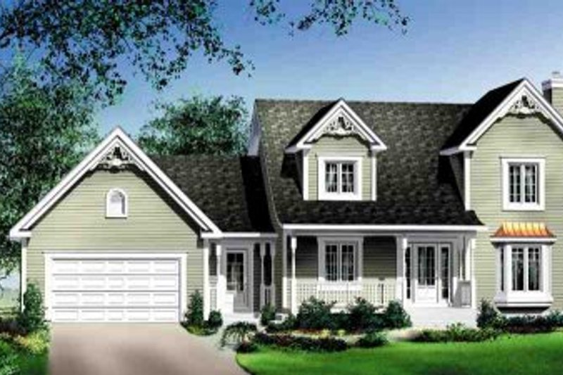 Traditional Style House Plan - 3 Beds 2.5 Baths 1751 Sq/Ft Plan #25-4165 Exterior - Front Elevation