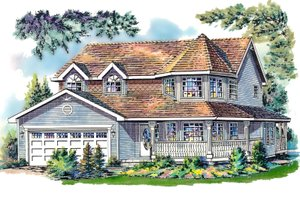 Architectural House Design - Victorian Exterior - Front Elevation Plan #18-245