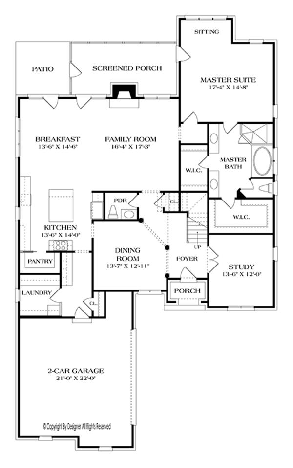 House Plan Design - European Floor Plan - Main Floor Plan #453-636