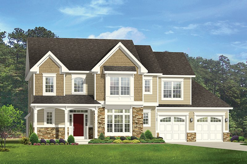 Architectural House Design - Colonial Exterior - Front Elevation Plan #1010-166