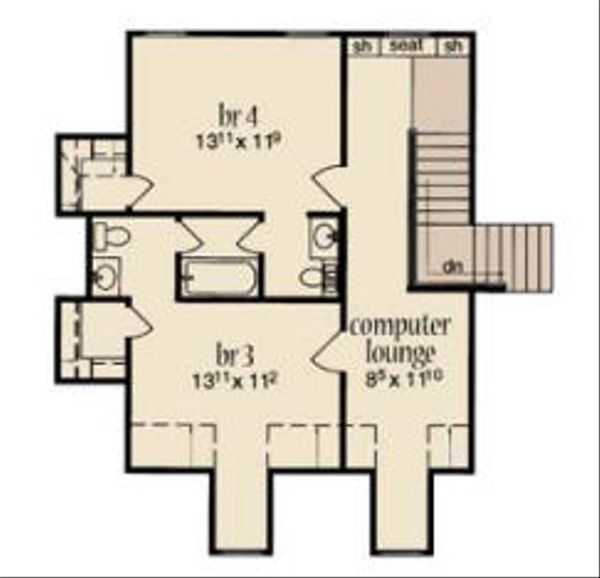 European Floor Plan - Upper Floor Plan Plan #36-470