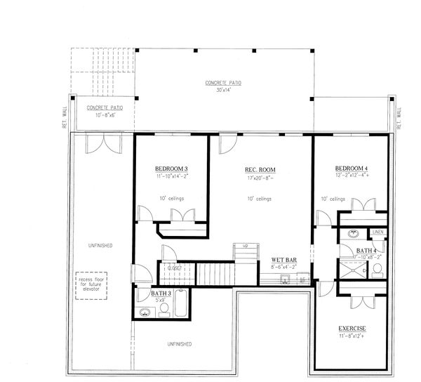 House Plan Design - Craftsman Floor Plan - Lower Floor Plan #437-122