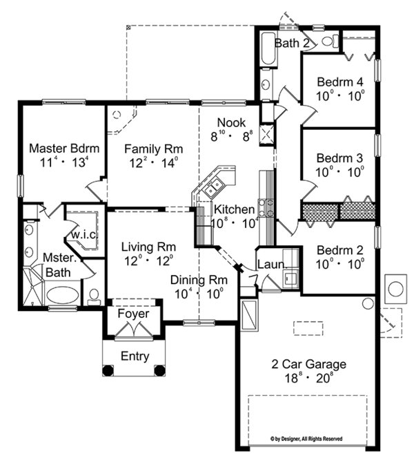 Mediterranean Floor Plan - Main Floor Plan Plan #417-841