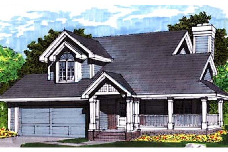 Country Style House Plan - 2 Beds 2.5 Baths 1550 Sq/Ft Plan #320-348 Exterior - Front Elevation