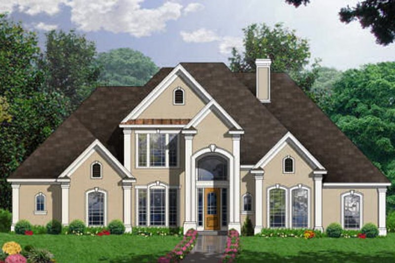 European Exterior - Front Elevation Plan #40-238