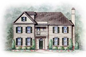 Colonial Exterior - Front Elevation Plan #54-127