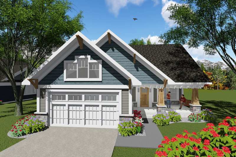 Craftsman Style House Plan - 2 Beds 1 Baths 1047 Sq/Ft Plan #70-1256 Exterior - Front Elevation