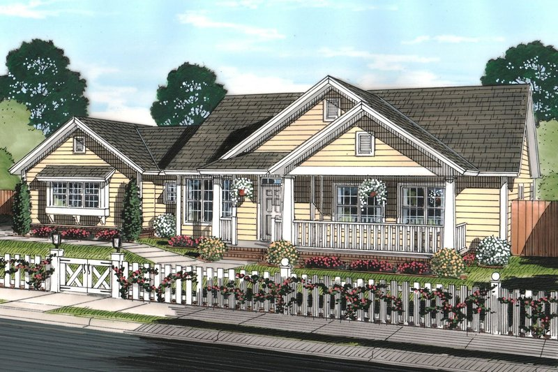 Traditional Style House Plan - 4 Beds 2.5 Baths 1808 Sq/Ft Plan #513-2067 Exterior - Front Elevation