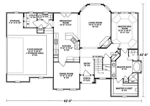 Mediterranean Floor Plan - Main Floor Plan Plan #20-256