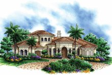 House Design - Mediterranean Exterior - Front Elevation Plan #1017-104
