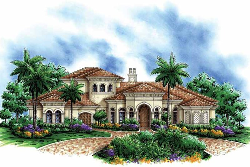 Mediterranean Exterior - Front Elevation Plan #1017-104