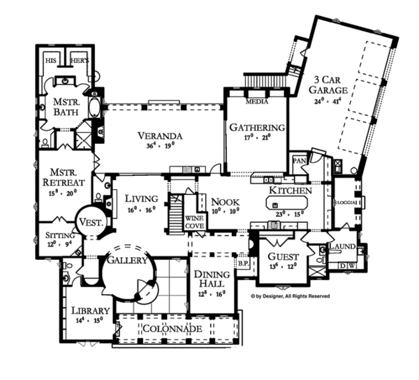 Mediterranean Floor Plan - Main Floor Plan Plan #1058-1