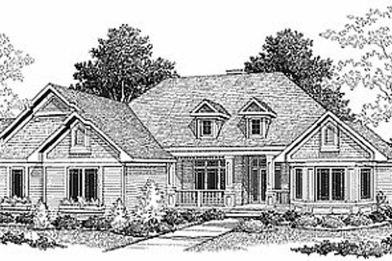 Traditional Style House Plan - 3 Beds 2.5 Baths 3665 Sq/Ft Plan #70-292 Exterior - Front Elevation