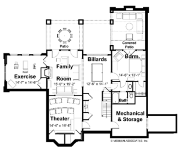 Classical Floor Plan - Lower Floor Plan Plan #928-55