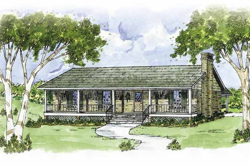 Country Exterior - Front Elevation Plan #36-611