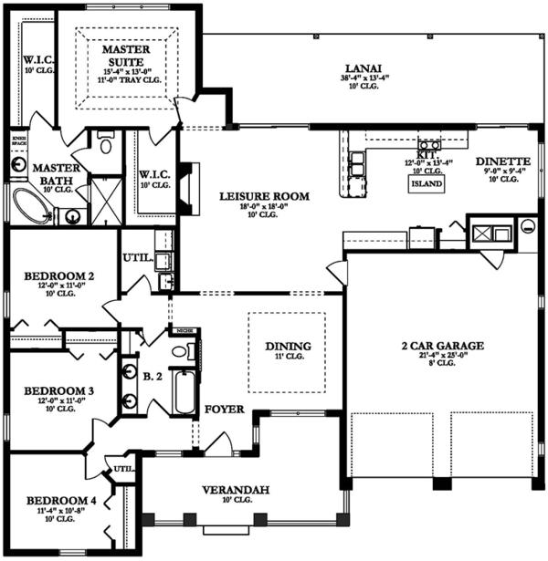 Ranch Floor Plan - Main Floor Plan Plan #1058-145