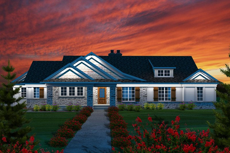 Home Plan - Ranch Exterior - Front Elevation Plan #70-1138