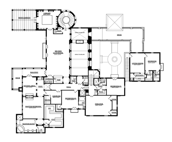 Mediterranean Floor Plan - Upper Floor Plan Plan #1058-16