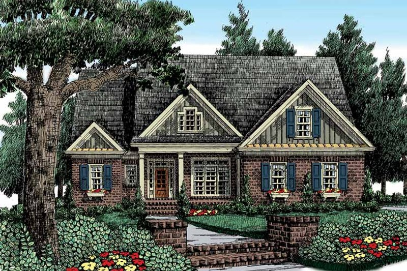 Country Exterior - Front Elevation Plan #927-411