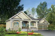Country Style House Plan - 2 Beds 1 Baths 1285 Sq/Ft Plan #25-4637 Exterior - Front Elevation