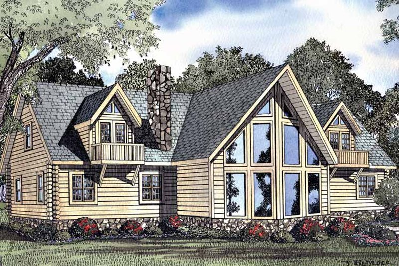 Log Exterior - Front Elevation Plan #17-3077 - Houseplans.com