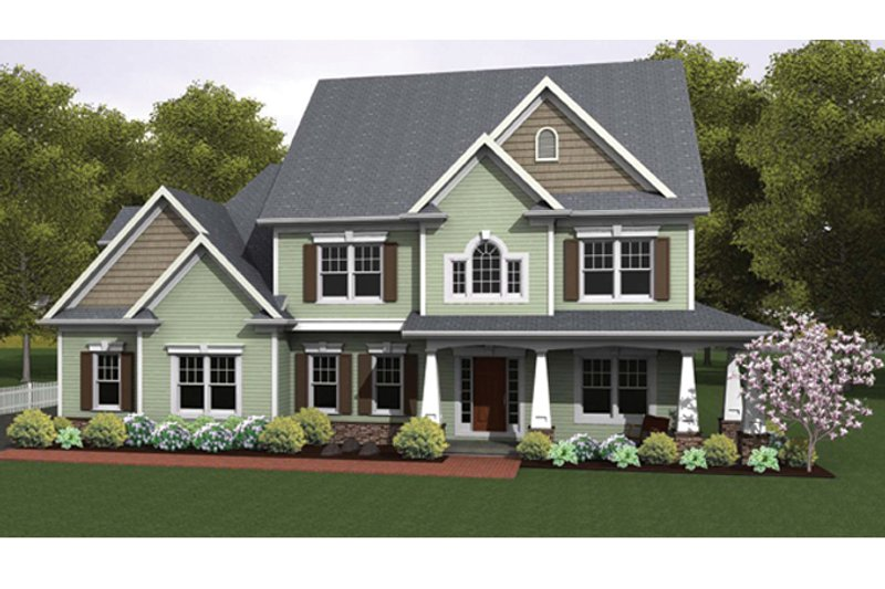 Colonial Exterior - Front Elevation Plan #1010-38 - Houseplans.com
