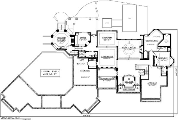 House Plan Design - Lower level floor plan - 9400 square foot European home